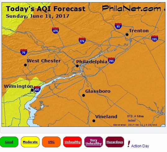 Unhealthy Air Quality June 11, 2017