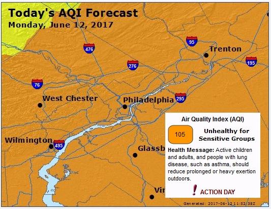 Unhealthy Air Quality June 12, 2017
